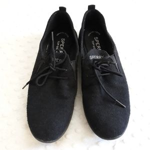 Sperry black fabric lace up sneakers size 9 1/2